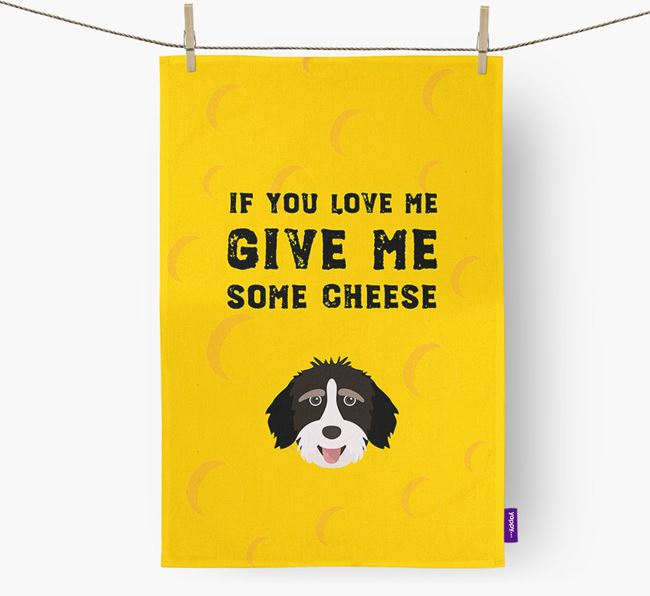 'Give Me Some Cheese' Tea Towel with Aussiedoodle Icon