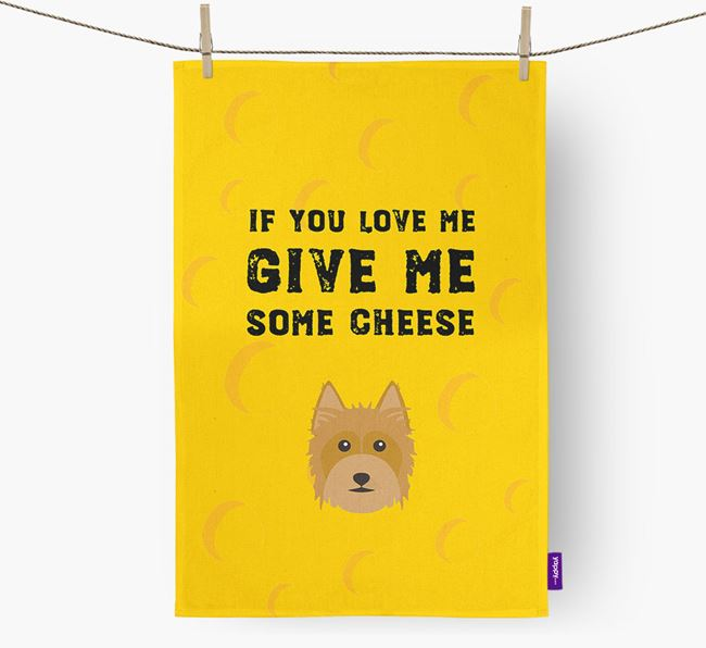 'Give Me Some Cheese' Tea Towel with Australian Silky Terrier Icon