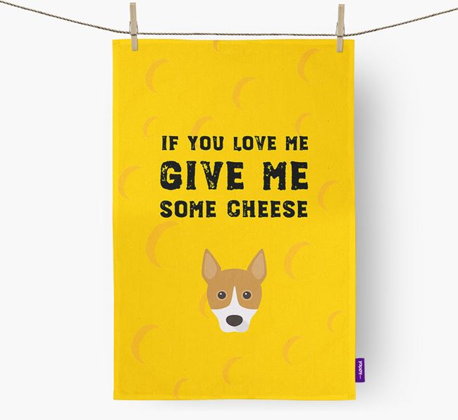 'Give Me Some Cheese' Dish Towel with Basenji Icon