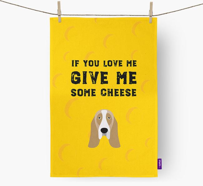 'Give Me Some Cheese' Dish Towel with Basset Hound Icon