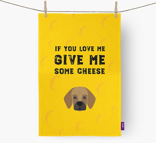 'Give Me Some Cheese' Dish Towel with Bassugg Icon