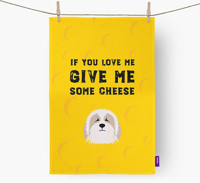 'Give Me Some Cheese' Dish Towel with Bearded Collie Icon