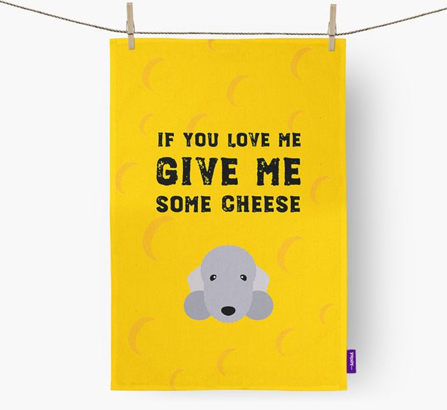 'Give Me Some Cheese' Dish Towel with Bedlington Terrier Icon