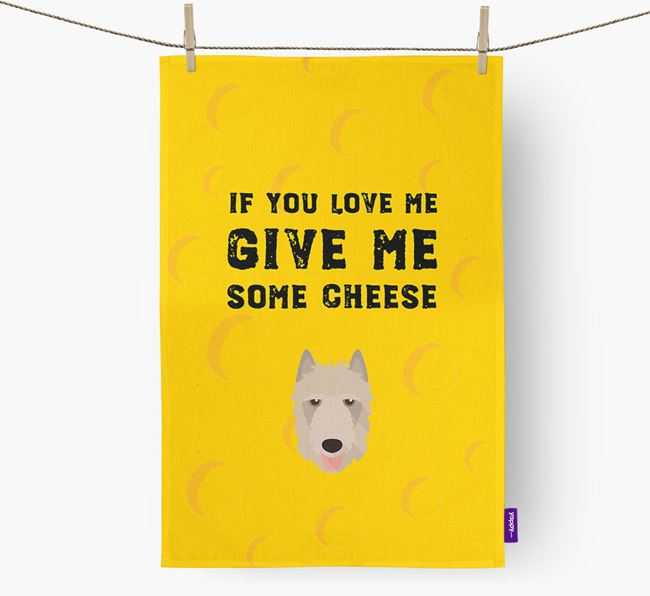 'Give Me Some Cheese' Dish Towel with Belgian Laekenois Icon
