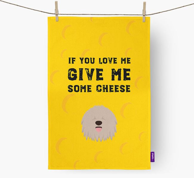 'Give Me Some Cheese' Dish Towel with Bergamasco Icon