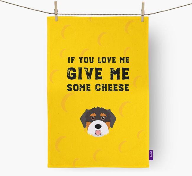 'Give Me Some Cheese' Dish Towel with Bernedoodle Icon