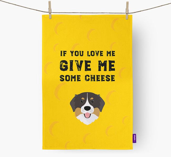 'Give Me Some Cheese' Dish Towel with Bernese Mountain Dog Icon