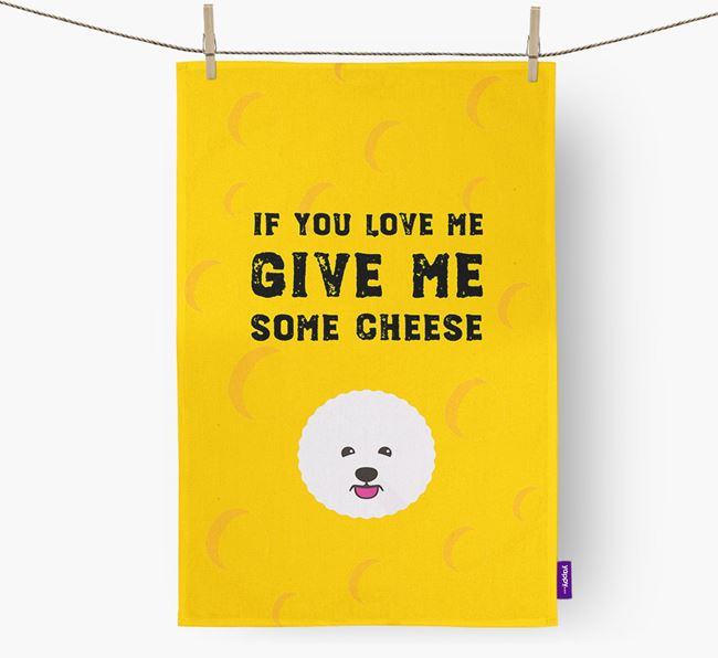 'Give Me Some Cheese' Dish Towel with Bichon Frise Icon