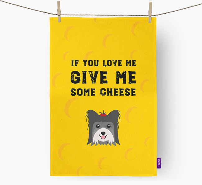 'Give Me Some Cheese' Dish Towel with Biewer Terrier Icon