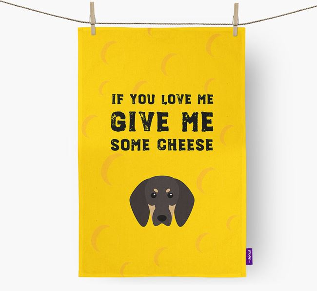 'Give Me Some Cheese' Tea Towel with Black and Tan Coonhound Icon