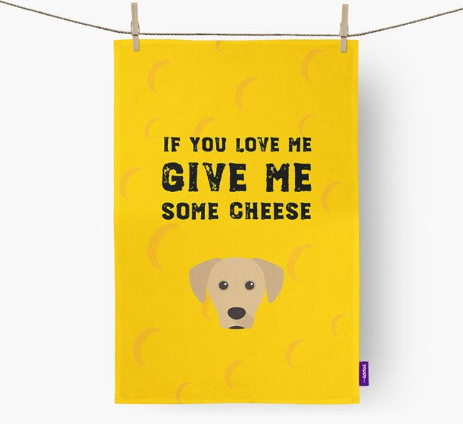 'Give Me Some Cheese' Dish Towel with Blue Lacy Icon