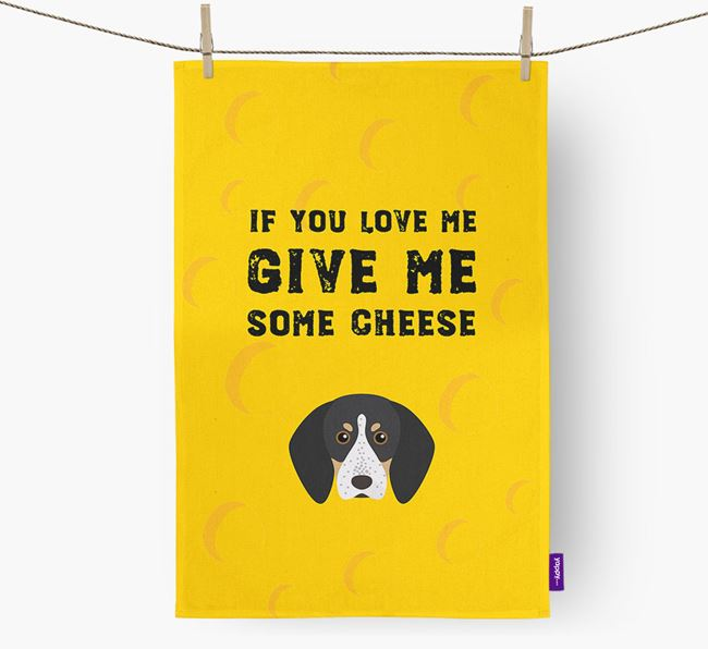 'Give Me Some Cheese' Dish Towel with Bluetick Coonhound Icon