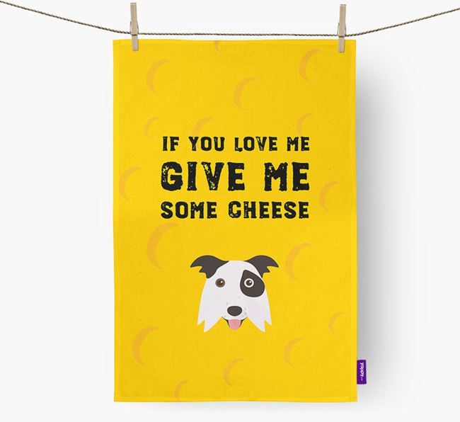 'Give Me Some Cheese' Tea Towel with Border Collie Icon