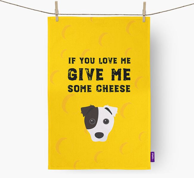 'Give Me Some Cheese' Dish Towel with Border Jack Icon