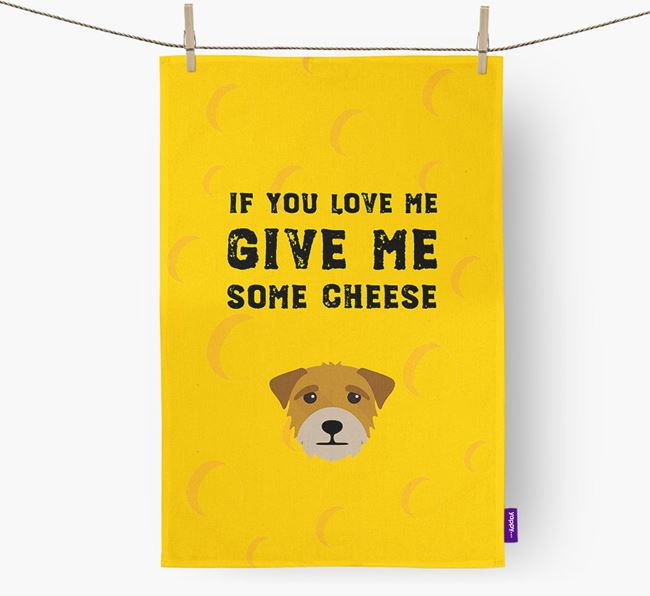 'Give Me Some Cheese' Dish Towel with Border Terrier Icon