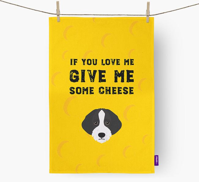 'Give Me Some Cheese' Dish Towel with Bordoodle Icon