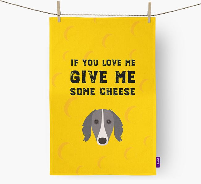 'Give Me Some Cheese' Dish Towel with Borzoi Icon