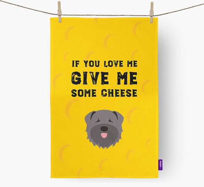 'Give Me Some Cheese' Dish Towel with Bouvier Des Flandres Icon