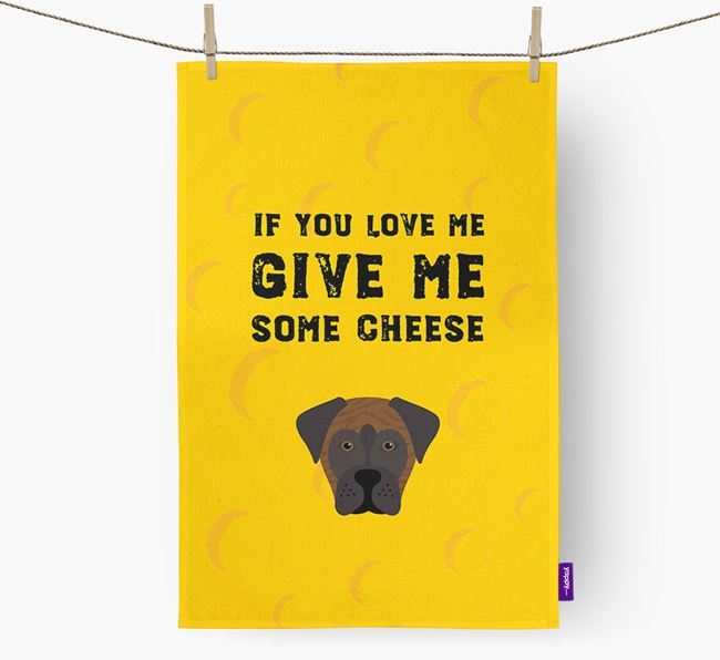 'Give Me Some Cheese' Dish Towel with Boxador Icon