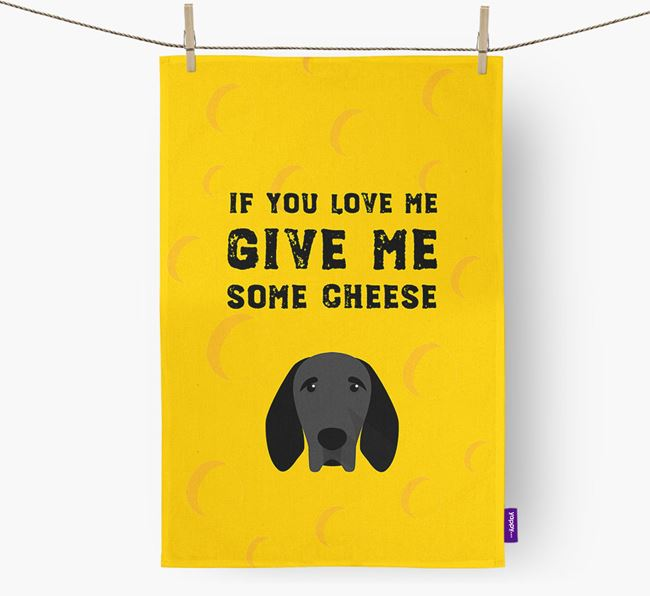 'Give Me Some Cheese' Dish Towel with Braque D'Auvergne Icon