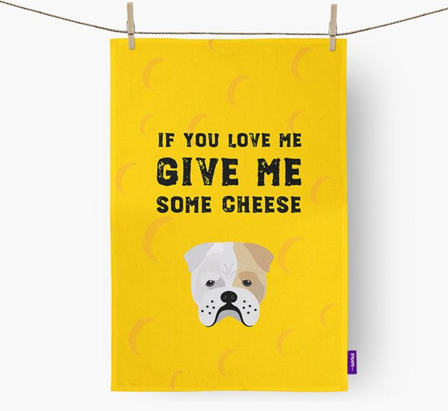 'Give Me Some Cheese' Dish Towel with Bull Pei Icon