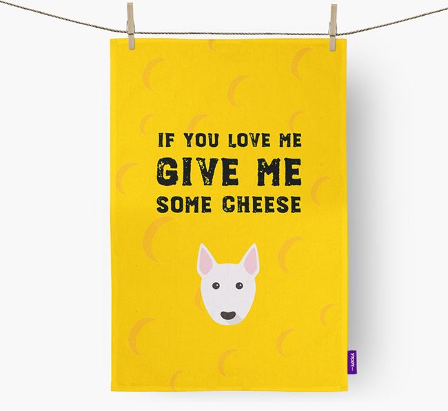 'Give Me Some Cheese' Dish Towel with Bull Terrier Icon