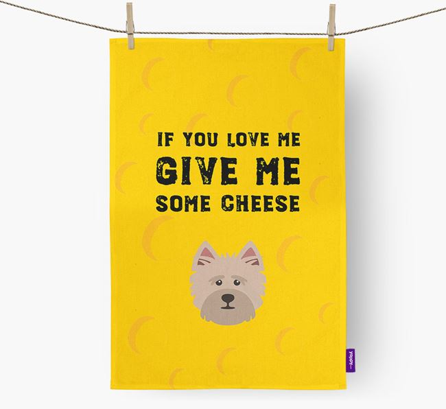 'Give Me Some Cheese' Dish Towel with Cairn Terrier Icon