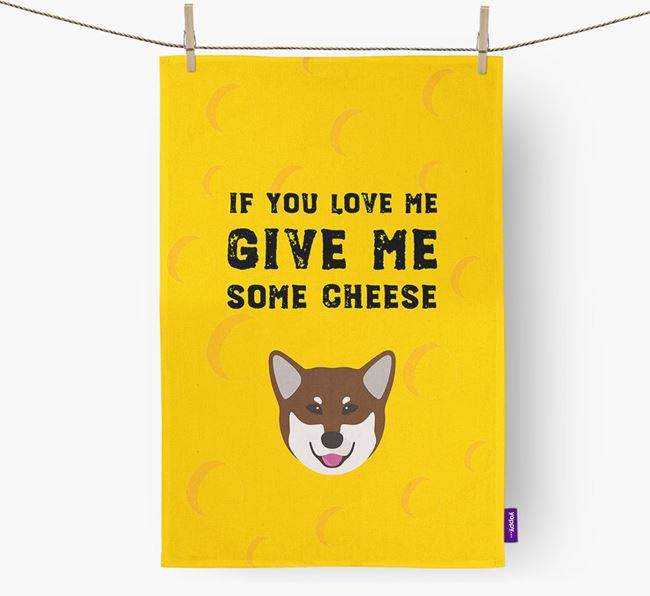 'Give Me Some Cheese' Dish Towel with Canadian Eskimo Dog Icon