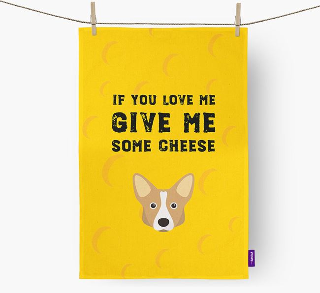 'Give Me Some Cheese' Dish Towel with Cardigan Welsh Corgi Icon