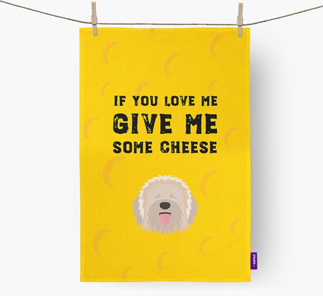 'Give Me Some Cheese' Dish Towel with Catalan Sheepdog Icon