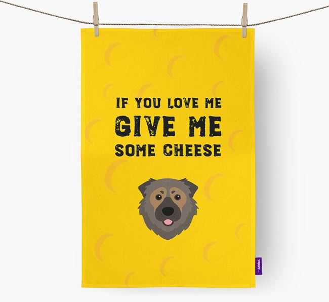 'Give Me Some Cheese' Dish Towel with Caucasian Shepherd Dog Icon