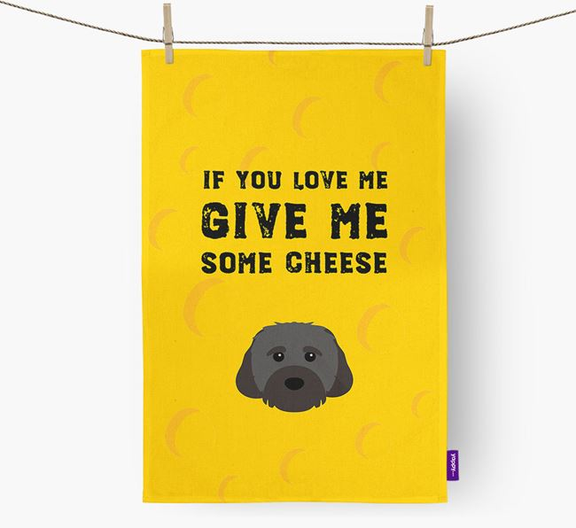 'Give Me Some Cheese' Tea Towel with Cavachon Icon