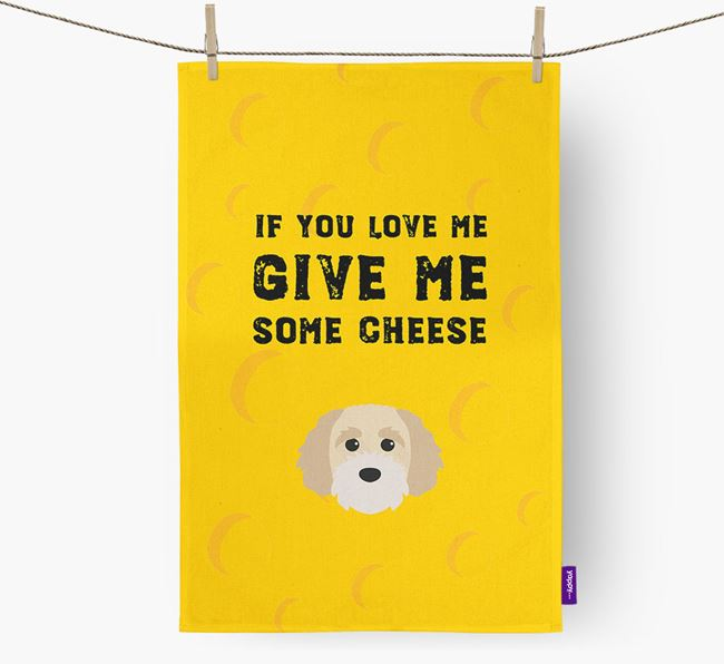 'Give Me Some Cheese' Dish Towel with Cavapoochon Icon