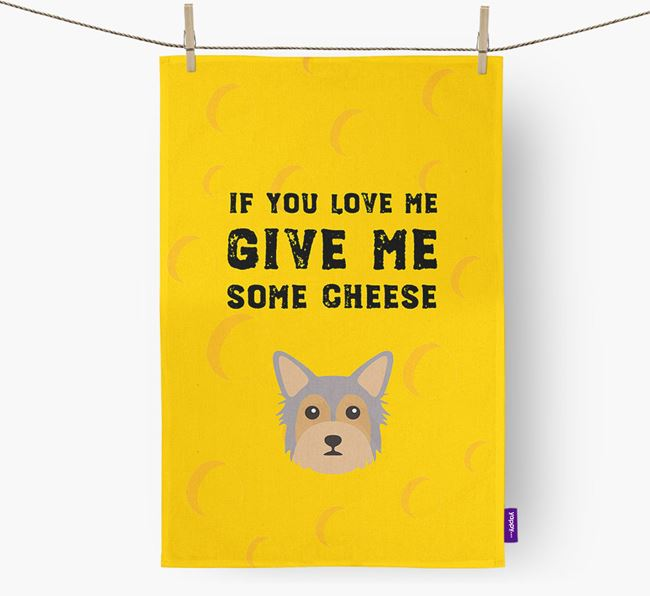 'Give Me Some Cheese' Dish Towel with Chorkie Icon