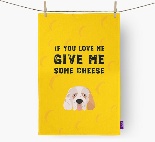 'Give Me Some Cheese' Dish Towel with Clumber Spaniel Icon