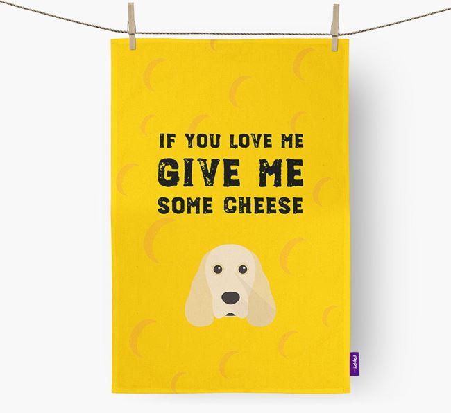 'Give Me Some Cheese' Dish Towel with Cocker Spaniel Icon