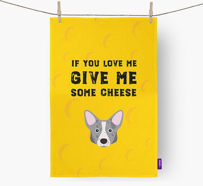 'Give Me Some Cheese' Dish Towel with Corgi Icon
