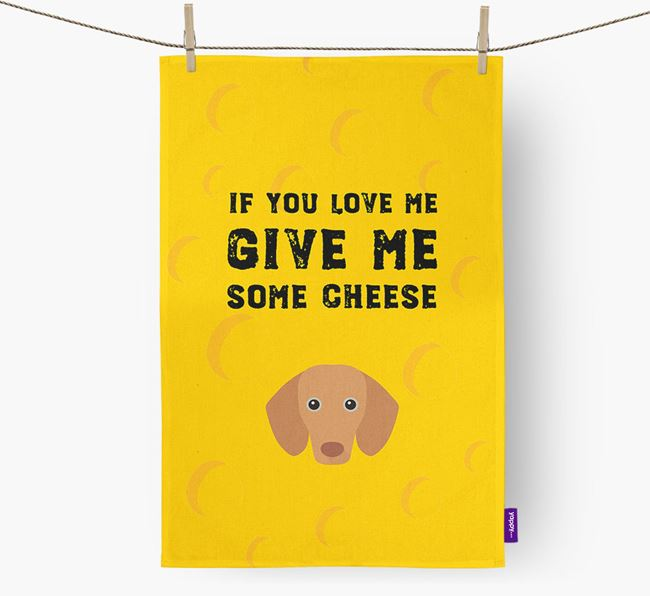 'Give Me Some Cheese' Dish Towel with Dachshund Icon
