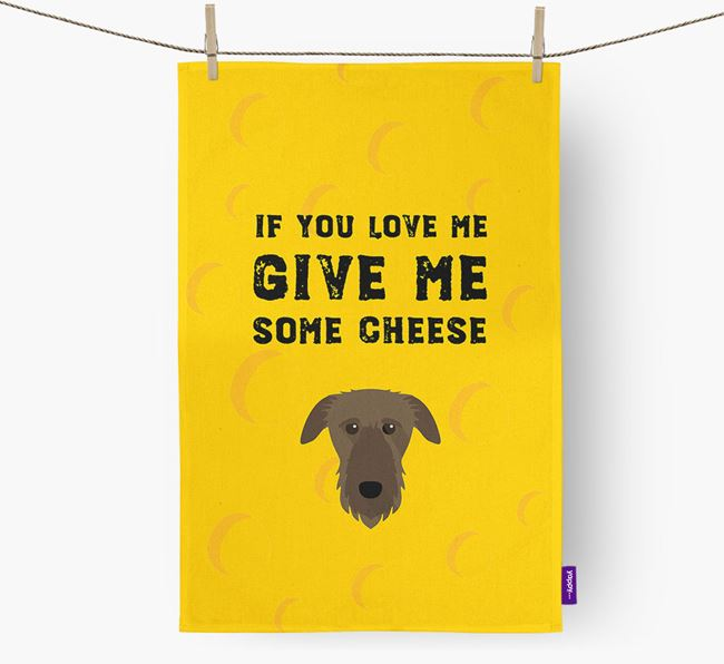 'Give Me Some Cheese' Dish Towel with Deerhound Icon