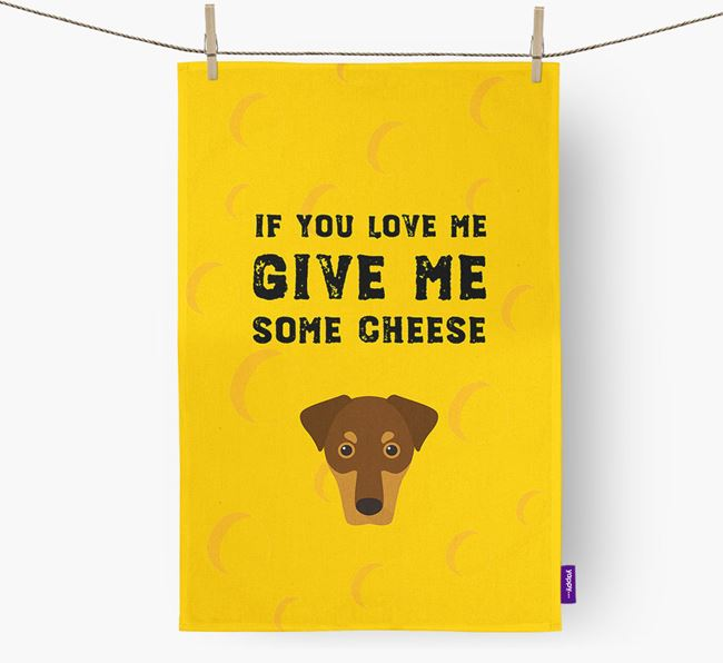 'Give Me Some Cheese' Dish Towel with Dobermann Icon