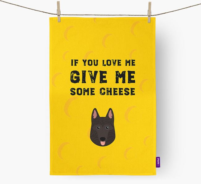 'Give Me Some Cheese' Dish Towel with Dutch Shepherd Icon