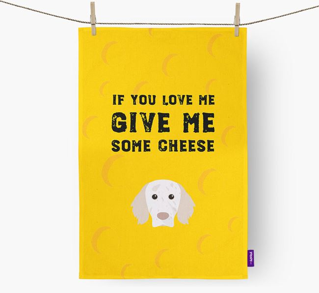 'Give Me Some Cheese' Dish Towel with English Setter Icon