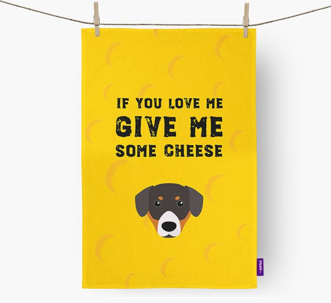 'Give Me Some Cheese' Dish Towel with Entlebucher Mountain Dog Icon