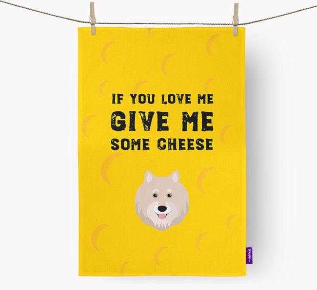 'Give Me Some Cheese' Dish Towel with Finnish Lapphund Icon