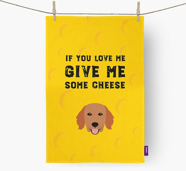 'Give Me Some Cheese' Dish Towel with Flat-Coated Retriever Icon