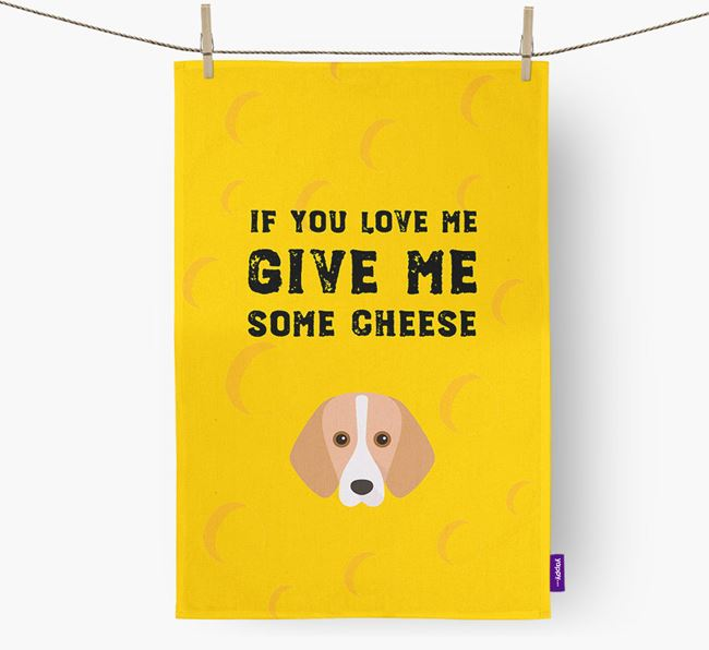 'Give Me Some Cheese' Tea Towel with Foxhound Icon