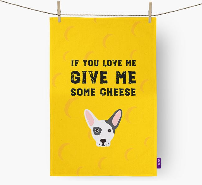 'Give Me Some Cheese' Dish Towel with French Bull Jack Icon