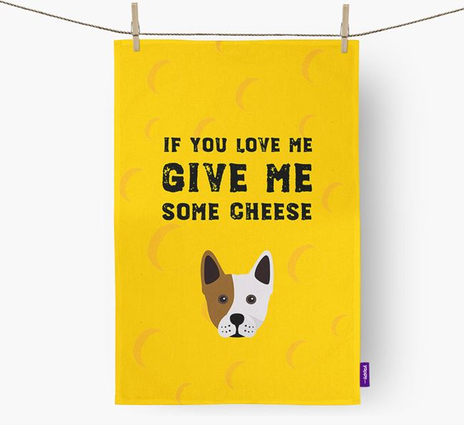 'Give Me Some Cheese' Dish Towel with Frenchie Staff Icon