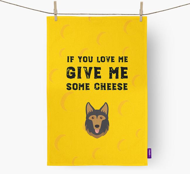 'Give Me Some Cheese' Dish Towel with Gerberian Shepsky Icon