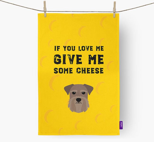 'Give Me Some Cheese' Dish Towel with Giant Schnauzer Icon